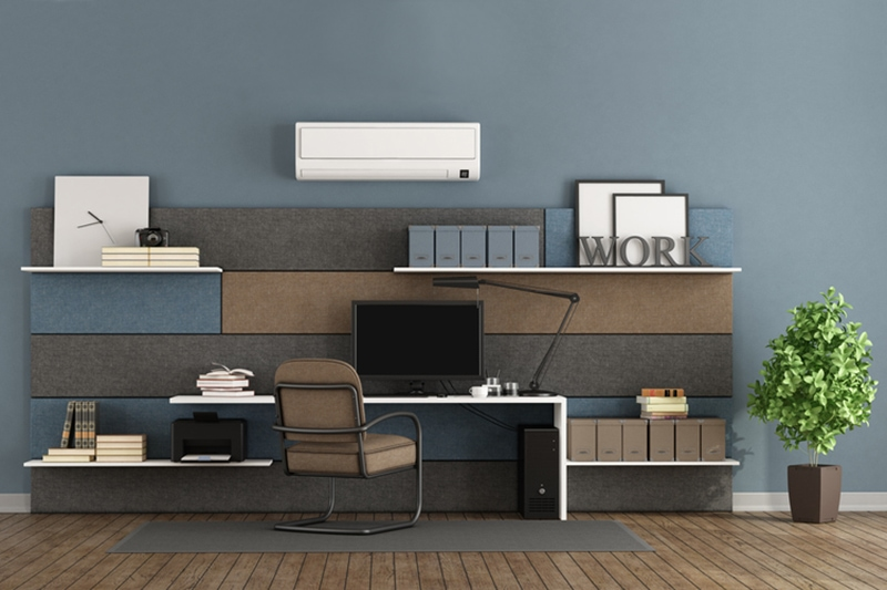 Consider a Ductless AC System. Blue and brown modern office
